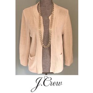 J. Crew Seafront Open Cropped Cardigan Linen Med